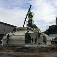 The palm trees, from Nieuwkoop Europe, are hauled into the steel construction and planted. Photo: Michiel Raats. (May 13)